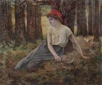 rastendes bauernmädchen mit roter kopfbedeckung by michel korochansky