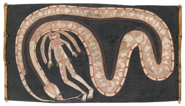 nawaram rock python eating dreamtime woman ngalyangdon by lofty narbardayal nadjamerrek