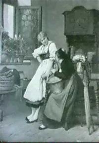 conversation dans un interieur alsacien by camille alfred pabst