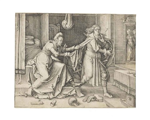 joseph escaping potiphars wife from the story of joseph together with potiphars wife accusing joseph 2 works by lucas van leyden