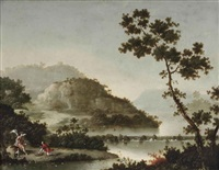 a hilly river landscape with tobias and the archangel raphael by pseudo-moucheron
