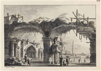an architectural capriccio with a ruined aqueduct and a church beyond, perhaps that of sant elena by francesco tironi