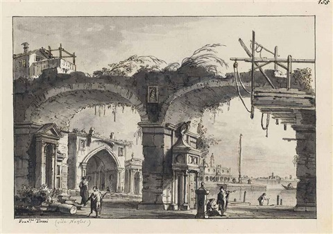 an architectural capriccio with a ruined aqueduct and a church beyond perhaps that of sant elena by francesco tironi