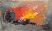 abstracto con mancha roja by nelsa solano