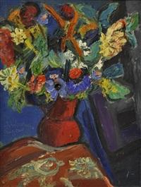 bouquet de fleurs au vase rouge by pierre ambrogiani