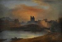 vue du port au coucher de soleil by charles nicolas lemercier
