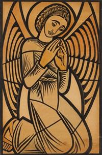 anjo, estudio para os vitrais da igreja de nossa senhora de fátima, lisboa by almada negreirors