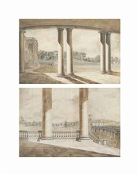 fonthill splendens: two views from the portico towards the right wing; view from the right wing across the entrance (2 works) by hendrik frans de cort