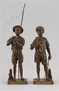 charmeur de lézards (+ pêcheur, lrgr; 2 works) by adolphe-jean lavergne