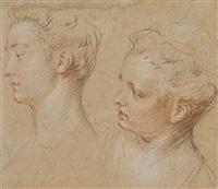 deux têtes de femmes by françois lemoyne