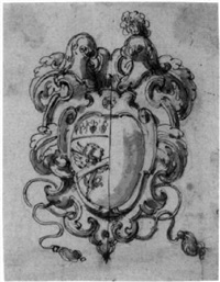 design for a coat-of-arms with a gryphon by angelo michele colonna