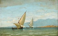 sailboats at bosphorus by daniel hermann anton melbye