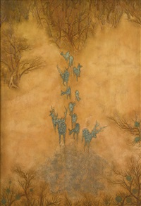 paysage cynégétique panel by pierre bobot