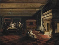 elegantly dressed figures playing cards and making music, others reading in front of a fireplace, in an interior with a canopy bed by dirck van delen