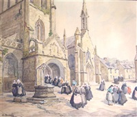 locronan, sortie d'église by a. demoly