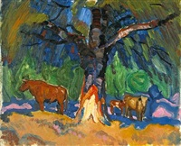 cows under a sheltering tree by harold c. davies