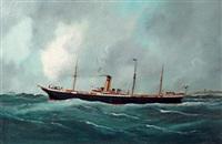 le vapeur mixte alexandria au large d'une côte by édouard adam