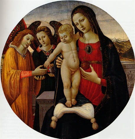 the madonna and child with attendant angels an extensive landscape beyond by jacopo del sellaio