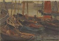 bateaux et pêcheurs au port by alfred victor fournier
