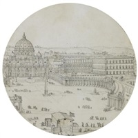 view of st. peter's, rome, with a military encampment in the foreground by lievin cruyl