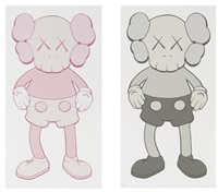 companion pink and grey (two works) by kaws