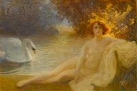 leda and the swan by albert auguste fourié