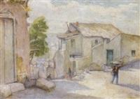 a greek town scene by stelios miliadis
