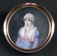 portrait en buste d'une jeune femme portant une robe de soie violine à plastron et col de dentelle, comme sa coiffure ornée de rubans de satin rose by marie honore renaud