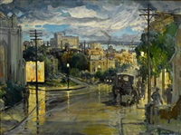 rainy evening by charles reiffel