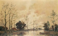 a river scene, holland by a. herbe