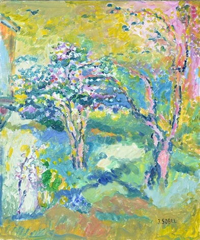 pink trees in a landscape by judyta sobel