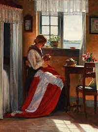 i danmark (a woman sews the danish flag with a view towards a stream) by cilius (johannes konrad) andersen