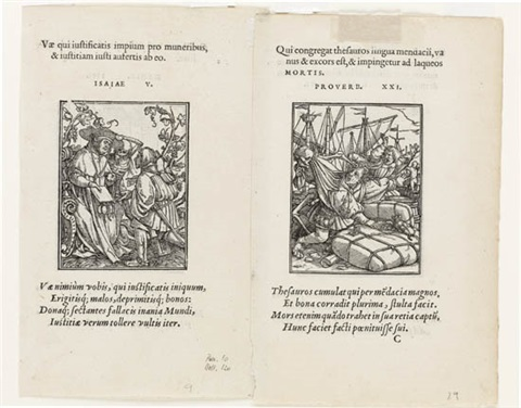 two double sided woodcuts from the dance of death by hans holbein the younger