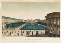 vue du jardin de palais royal; a companion print (after courvoisier) (2 works) by eugene aubertier