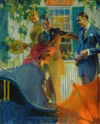 three men greeting woman with parasol by leon gordon