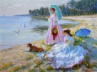 two girls on a beach by aleksandr averin
