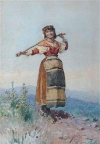 giovane popolana con bastone by domenico de angelis