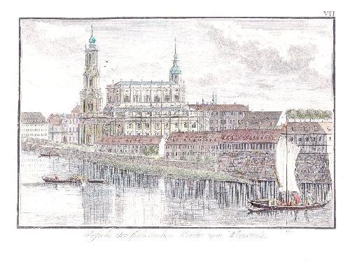 dresden ansicht der catholischen kirche von neustadt aus gesehen by carl gottfried nestler