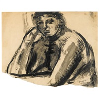 seated nude: head and shoulders by henry moore