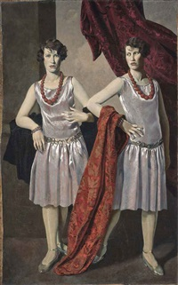 double portrait of the hon. miss alison (1902-1974) and hon. miss margaret (1902-1970) hore-ruthven, the ruthven twins by doris clare zinkeisen
