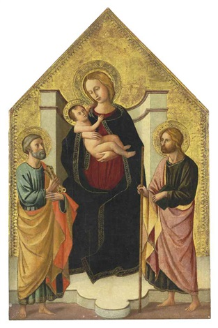 the madonna and child with saints peter and john the baptist by domenico di michelino