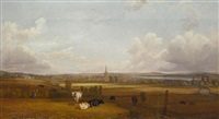 view of alloa, with cows and figures in the foreground by john fleming