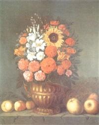 bodegón de flores y manzanas by johannes borman