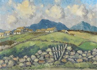 west of ireland landscape with stone walls and gate and village beyond by mabel young