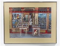 new orleans street scene with shoe store by noel rockmore
