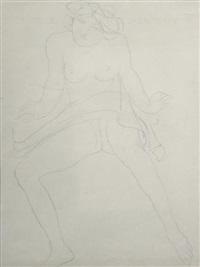 femme nue assise de face, jambes écartées by auguste rodin