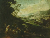 a mountainous landscape with peasants drawing water from a well by ignacio de iriarte