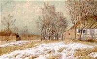 landschaft mit bauernhaus im winter by hans heinen