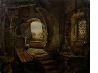 the upper floor of rembrandt's father's mill, koukerk by edward william cooke