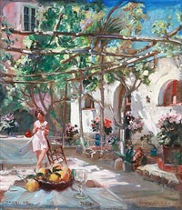 a woman at the hotel gaudeamus, capri by carl forup